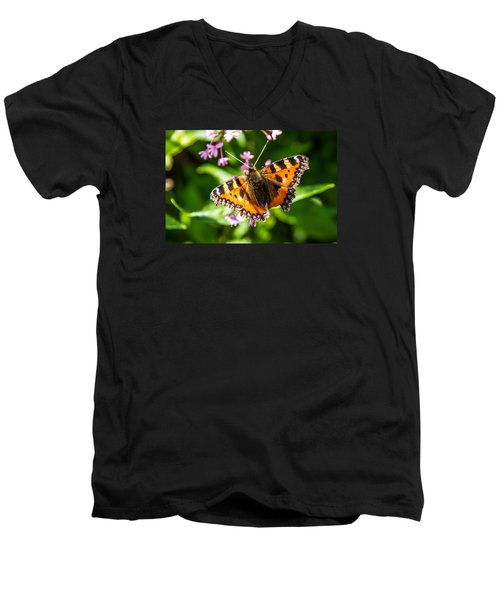Small Tortoiseshell Men's V-Neck T-Shirt by Martina Fagan