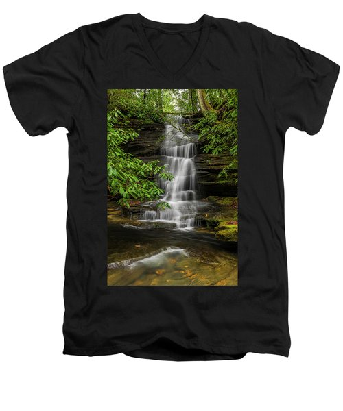 Small Waterfalls In The Forest. Men's V-Neck T-Shirt by Ulrich Burkhalter