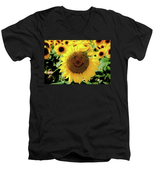 Men's V-Neck T-Shirt featuring the photograph Smile by Greg Fortier