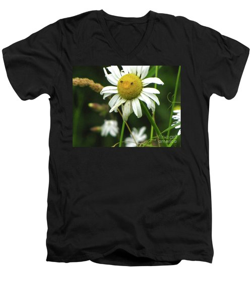 Men's V-Neck T-Shirt featuring the photograph Smiley Face Ox-nose Daisy by Sean Griffin