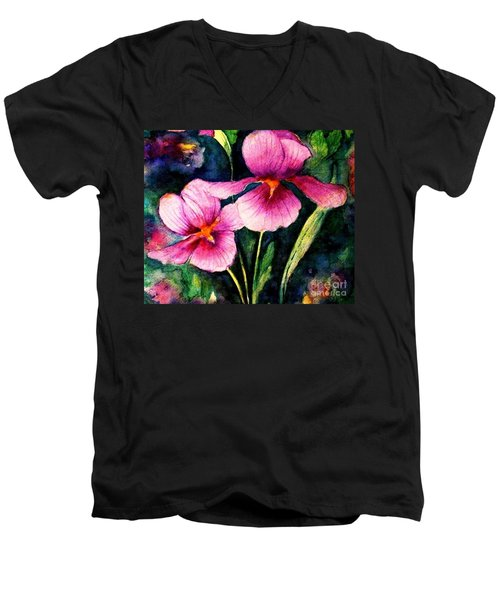 Smiling Iris Faces  Men's V-Neck T-Shirt by Hazel Holland