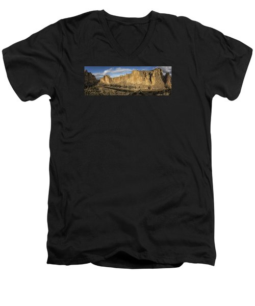 Men's V-Neck T-Shirt featuring the photograph Smith Rock And Crooked River Panorama by Belinda Greb
