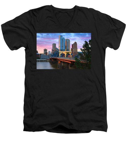 Smithfield Street Bridge Men's V-Neck T-Shirt by Emmanuel Panagiotakis