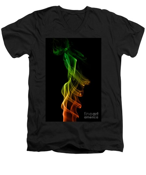Men's V-Neck T-Shirt featuring the photograph smoke XXII by Joerg Lingnau