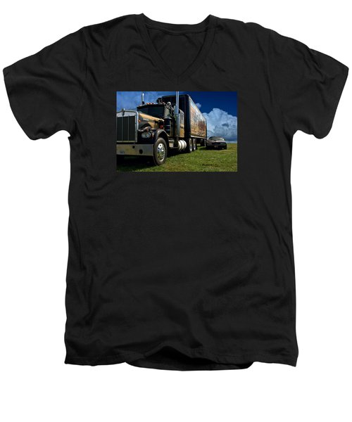 Smokey And The Bandit Tribute 1973 Kenworth W900 Black And Gold Semi Truck And The Bandit Transam Men's V-Neck T-Shirt