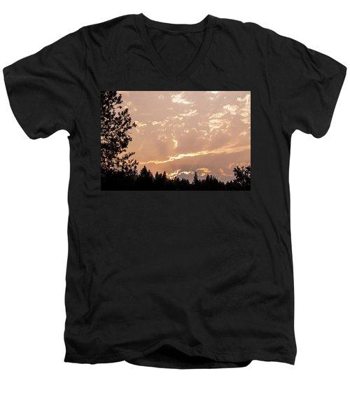 Smokey Skies Sunset Men's V-Neck T-Shirt by Melanie Lankford Photography