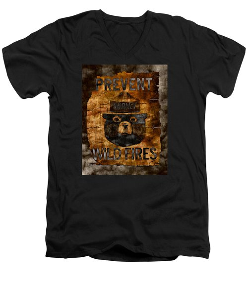 Smokey The Bear Only You Can Prevent Wild Fires Men's V-Neck T-Shirt by John Stephens
