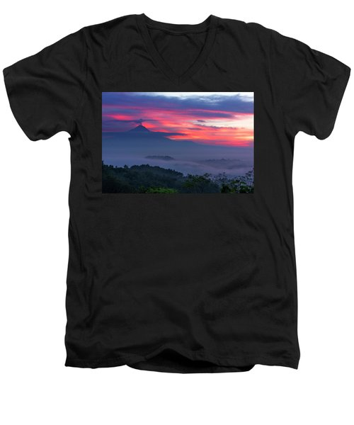 Smoking Volcano And Borobudur Temple Men's V-Neck T-Shirt