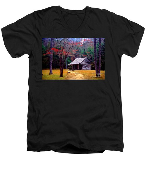 Smoky Mtn. Cabin Men's V-Neck T-Shirt by Paul W Faust -  Impressions of Light