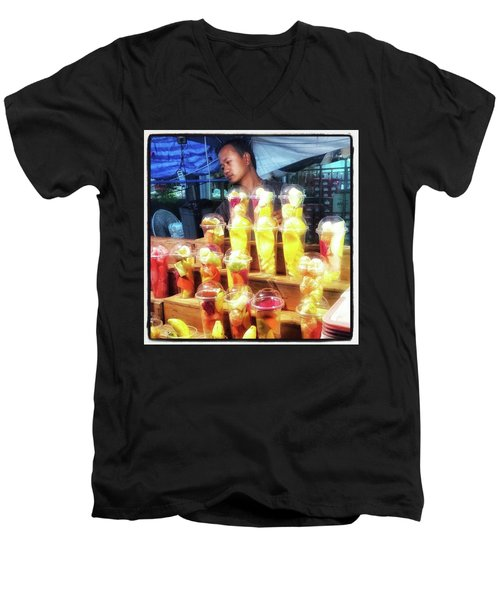 Men's V-Neck T-Shirt featuring the photograph Smoothie Nirvana. Choose A Cup Of by Mr Photojimsf