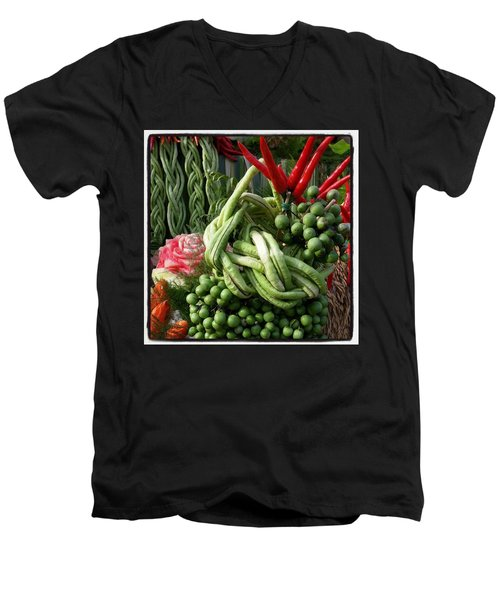 Men's V-Neck T-Shirt featuring the photograph Snake Beans. At The Surin Elephant by Mr Photojimsf