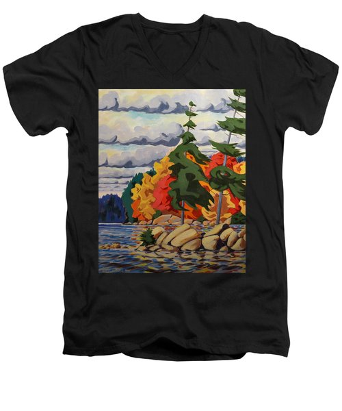 Snake Island In Fall-close Men's V-Neck T-Shirt by David Gilmore