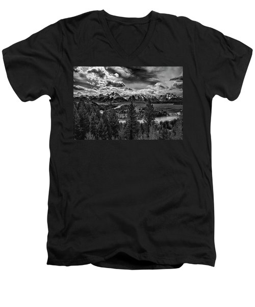 Snake River And Tetons Men's V-Neck T-Shirt