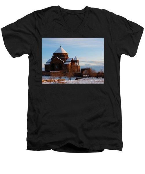 Snow Capped St. Hripsipe Church At Winter, Armenia Men's V-Neck T-Shirt by Gurgen Bakhshetsyan
