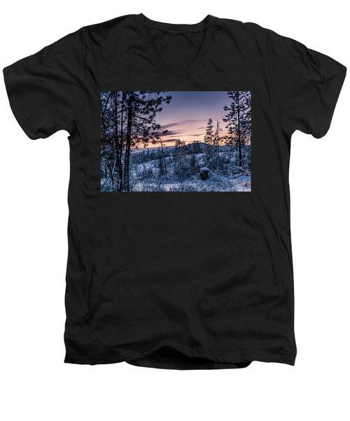 Snow Coved Trees And Sunset Men's V-Neck T-Shirt