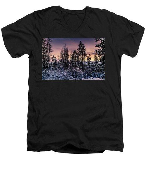 Snow Covered Pine Trees Men's V-Neck T-Shirt
