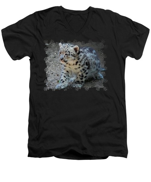 Snow Leopard Cub Paws Border Men's V-Neck T-Shirt by Terry DeLuco