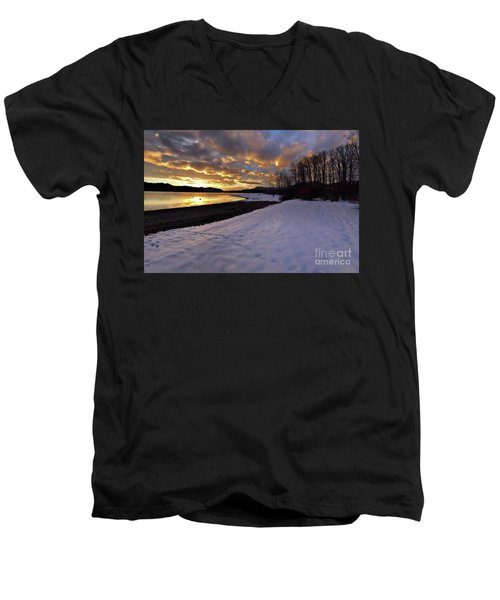Snow On Beach Men's V-Neck T-Shirt