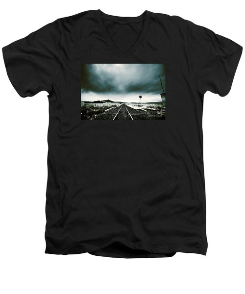 Men's V-Neck T-Shirt featuring the photograph Snow Railway by Jorgo Photography - Wall Art Gallery