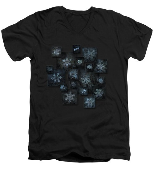 Snowflake Collage - Dark Crystals 2012-2014 Men's V-Neck T-Shirt by Alexey Kljatov