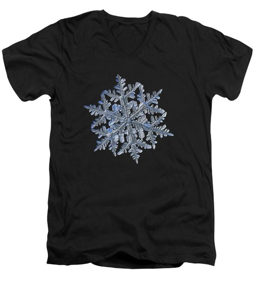 Snowflake Macro Photo - 13 February 2017 - 3 Black Men's V-Neck T-Shirt