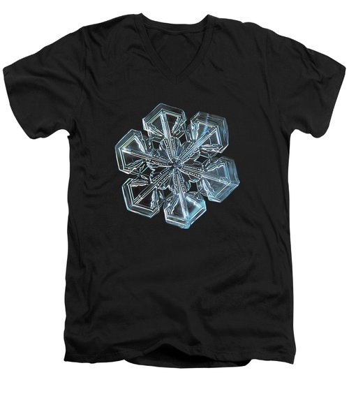 Men's V-Neck T-Shirt featuring the photograph Snowflake Photo - Alcor by Alexey Kljatov