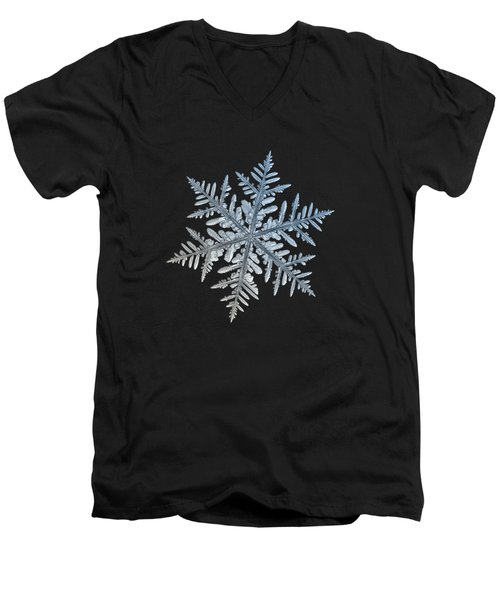 Men's V-Neck T-Shirt featuring the photograph Snowflake Photo - Silverware by Alexey Kljatov