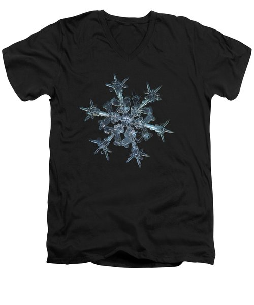 Men's V-Neck T-Shirt featuring the photograph Snowflake Photo - Starlight by Alexey Kljatov