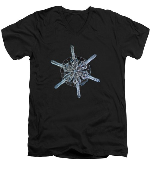 Men's V-Neck T-Shirt featuring the photograph Snowflake Photo - Steering Wheel by Alexey Kljatov