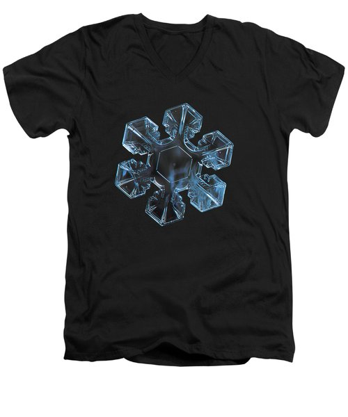 Men's V-Neck T-Shirt featuring the photograph Snowflake Photo - The Core by Alexey Kljatov