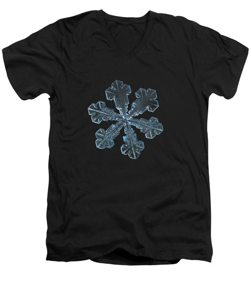 Men's V-Neck T-Shirt featuring the photograph Snowflake Photo - Vega by Alexey Kljatov