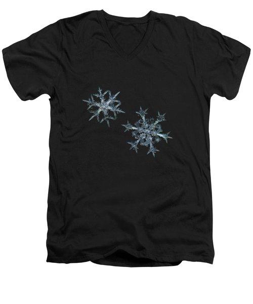 Snowflake Photo - When Winters Meets - 2 Men's V-Neck T-Shirt by Alexey Kljatov