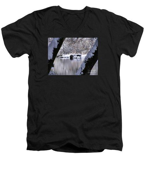 Snowy Bear River Men's V-Neck T-Shirt