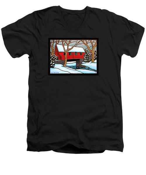 Snowy Covered Bridge Men's V-Neck T-Shirt