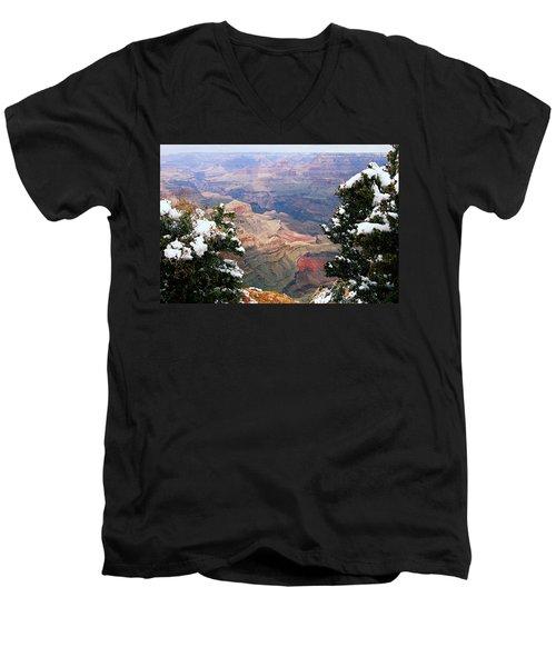 Snowy Dropoff - Grand Canyon Men's V-Neck T-Shirt by Larry Ricker