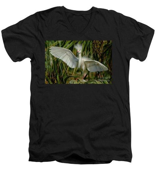 Snowy Egret In The Trees Men's V-Neck T-Shirt by Myrna Bradshaw