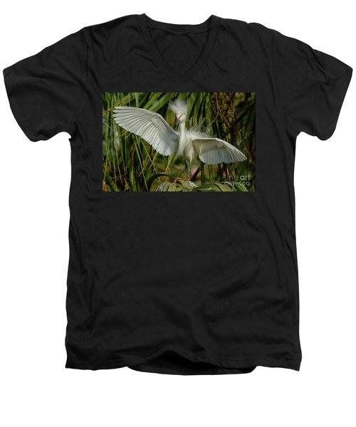Snowy Egret In The Trees Men's V-Neck T-Shirt