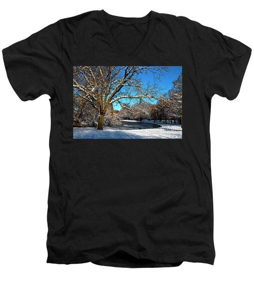 Snowy Pond Men's V-Neck T-Shirt