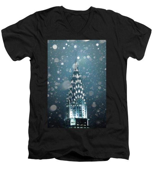 Snowy Spires Men's V-Neck T-Shirt by Az Jackson