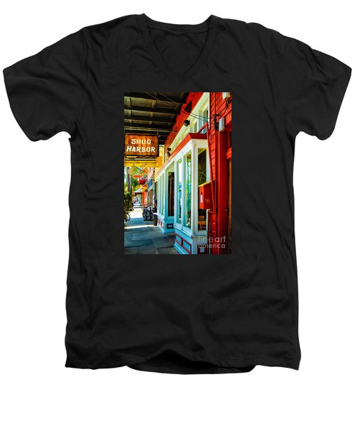 Snug Harbor Jazz Bistro- Nola Men's V-Neck T-Shirt by Kathleen K Parker