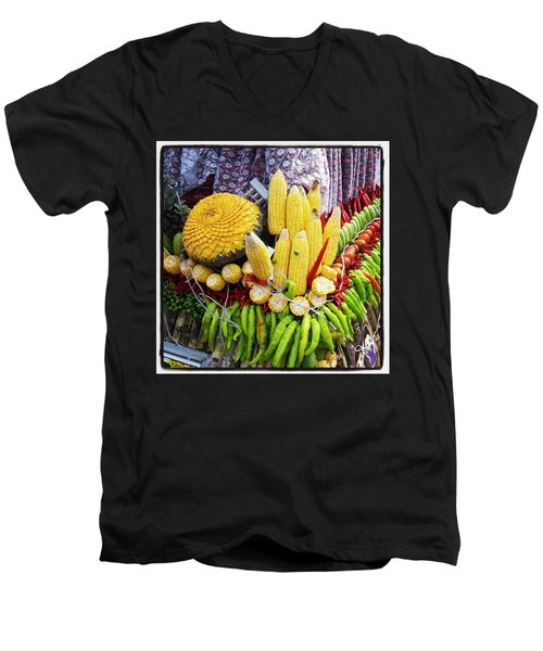 Men's V-Neck T-Shirt featuring the photograph So, Elephants Eat Red Hot Chile by Mr Photojimsf