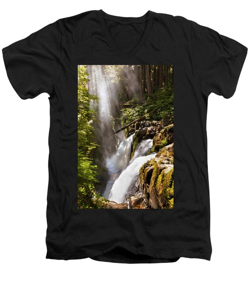 Men's V-Neck T-Shirt featuring the photograph Sol Duc Falls by Adam Romanowicz