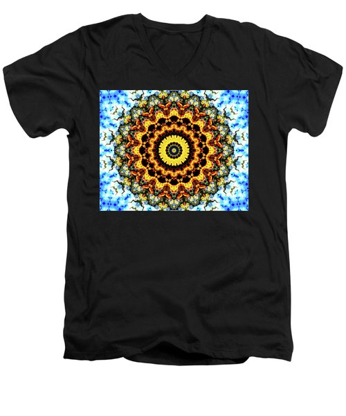 Men's V-Neck T-Shirt featuring the digital art Solar Flare 2 by Wendy J St Christopher
