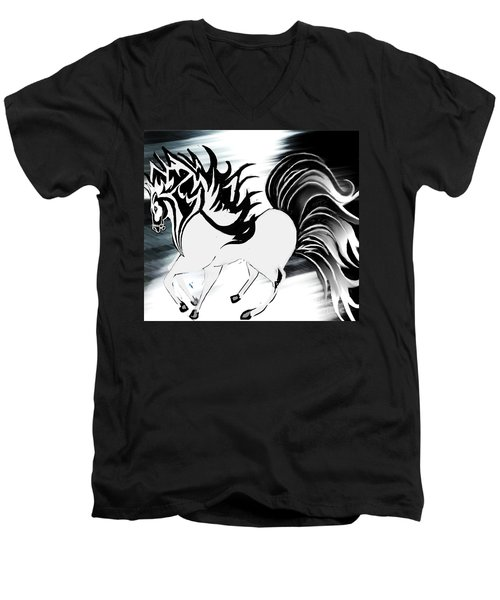 Soldier Horse Men's V-Neck T-Shirt by Belinda Threeths