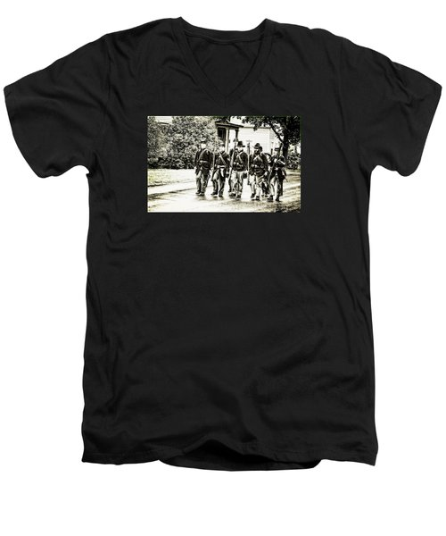 Soldiers Marching In Parade Men's V-Neck T-Shirt by Rena Trepanier