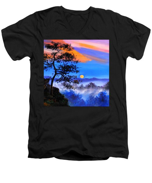 Men's V-Neck T-Shirt featuring the painting Solitude by Karen Showell
