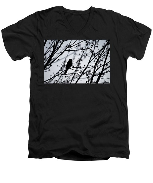 Men's V-Neck T-Shirt featuring the photograph Song Bird Silhouette by Terry DeLuco
