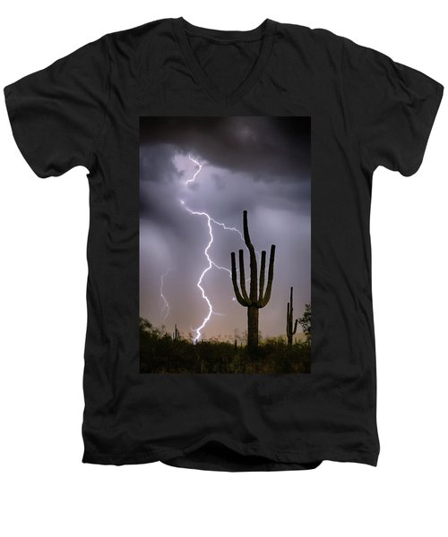 Men's V-Neck T-Shirt featuring the photograph Sonoran Desert Monsoon Storming by James BO Insogna