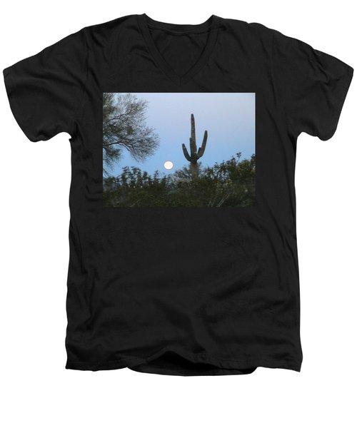 Sonoran Desert Moonset Men's V-Neck T-Shirt