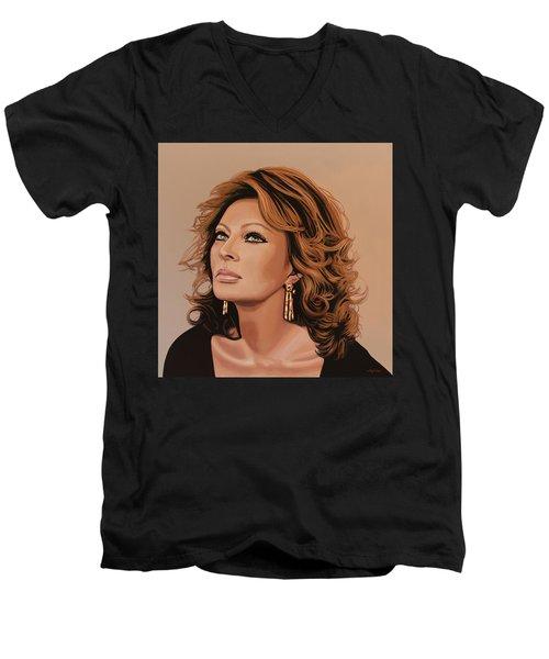 Sophia Loren 3 Men's V-Neck T-Shirt by Paul Meijering